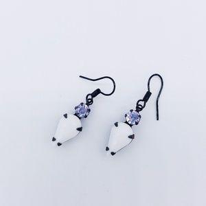 Jewelry - Vintage Swavorski Opaque White Teardrop Earrings